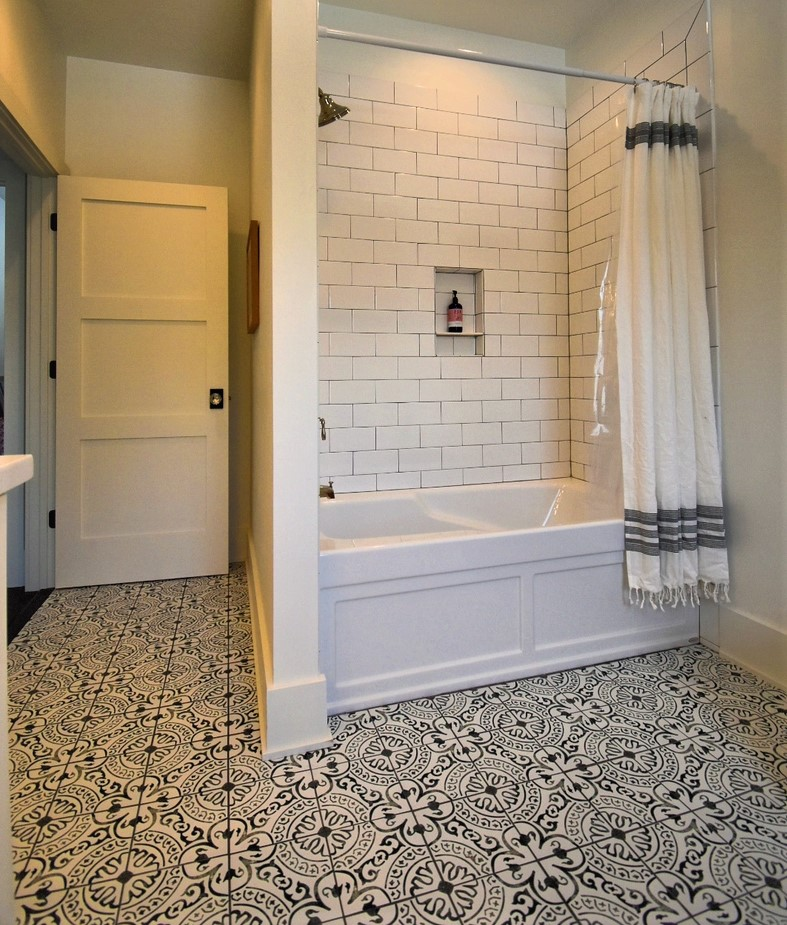 Nick Joski Tub Surround and Encaustic Floor Tile